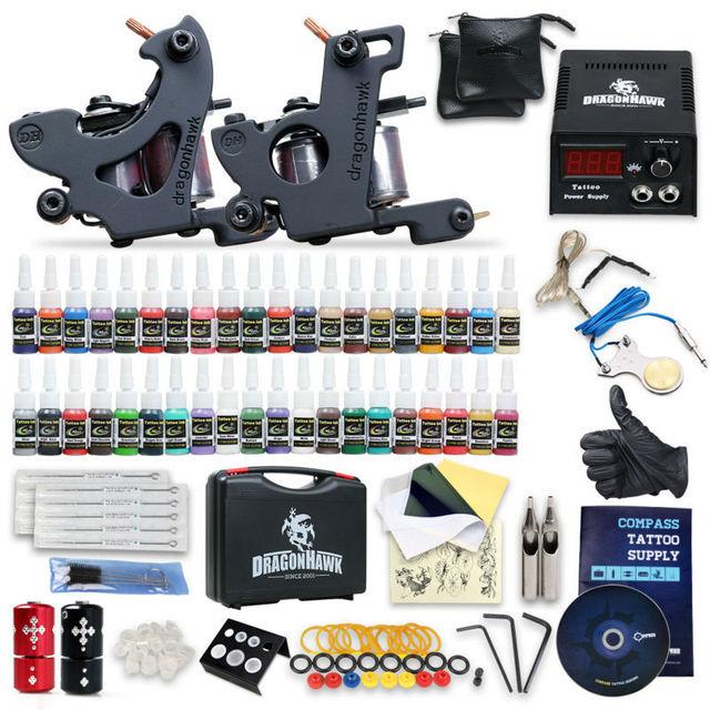 Complete Beginner Tattoo Kit Machine Guns Inks Needles Tattoo Power Supply SMT40-3