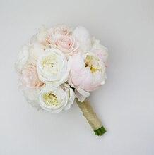 Wedding Bouquet Silk Wedding Bouquet Blush Rose Cream Peony bride bouquet wedding flowers