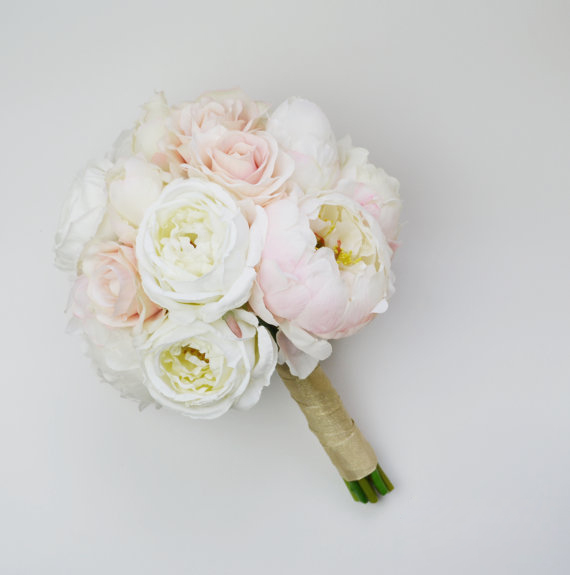 Wedding Bouquet Silk Blush Rose Cream Peony Bride Flowers In Bouquets From Weddings Events On Aliexpress