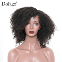 Afro Kinky Curly Lace Front Human Hair Wigs For Women 250 Density Brazilian Remy 13x6 Pre Plucked Full End Natural Black Dolago