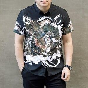 Image 3 - Homens Camisa Plus Size Impressão Besta Camisa de Manga Curta Casuais Verão Fina 5XL 6XL 7XL 8XL 9XL 10XL Sólida Masculino camisa da cor Preta