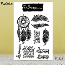 AZSG Feather spirit Clear Stamps For DIY Scrapbooking/Card Making/Album Decorative Silicon Stamp Crafts 1pc tpr silicon transparent clear stamp feather flowers butterfly stamp diy scrapbook card making craft album decorating stamp