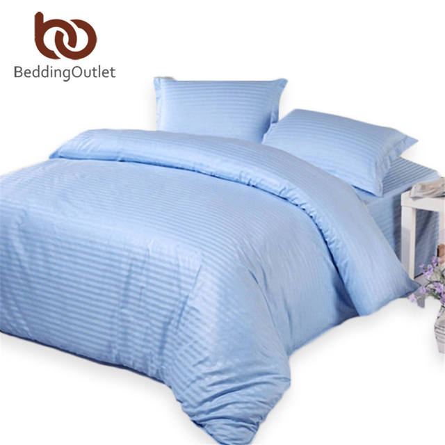 BeddingOutlet Sky Blue Bedding Set Sateen Striped Bed Linen For Home Hotel  Quality Cotton Bedclothes Twin