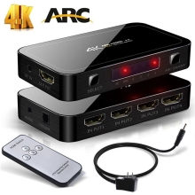 2018 HDMI Splitter Switch 2.0 4K HDMI 2.0 Switch 4×1 4 In 1 Out HDMI Switch Audio Extractor With ARC For Nintend Switch PS4 Pro