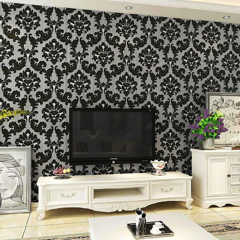 Classic Black Floral Velvet Damask Wallpaper Roll For Walls Home Decor 3D  Living Room Bedroom Background Wall Covering Papers in Wallpapers from Home. Classic Black Floral Velvet Damask Wallpaper Roll For Walls Home