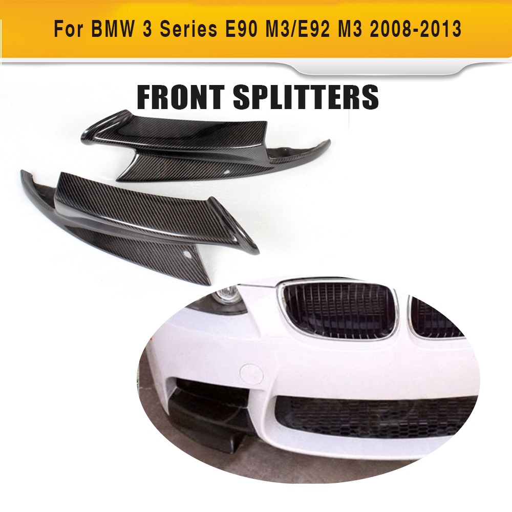 3 Series Carbon Fiber Car Front Splitters Apron lip spoiler For BMW E90 Sedan E92 Coupe E93 Convertible M3 08-14 2x2 fc apc fiber optic plc splitter fiber splitters fiber pigtails fbt splitters