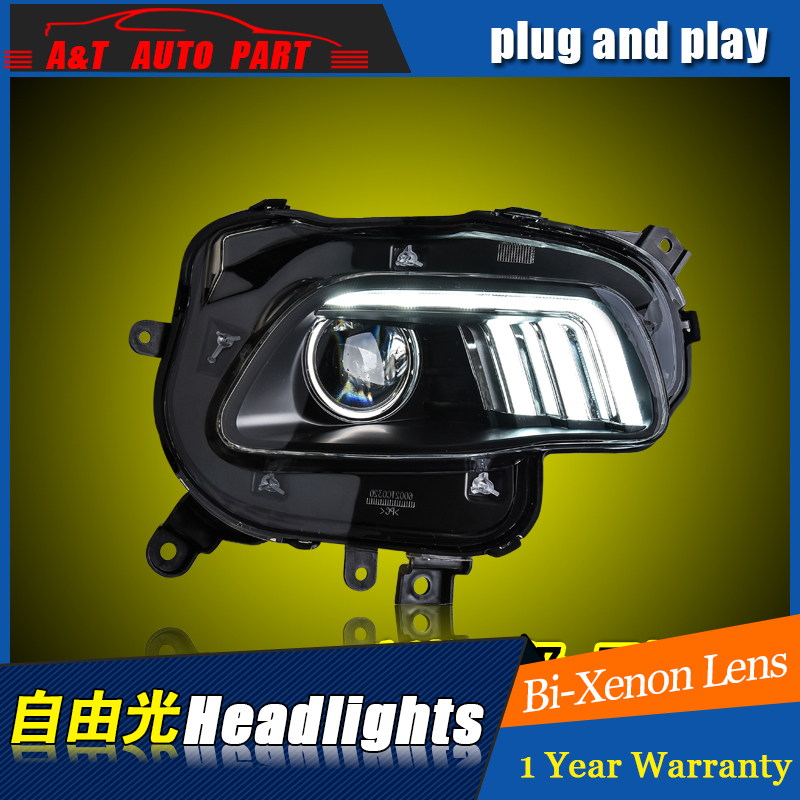 A&T Car Styling For JEEP Cherokee headlights For Cherokee LED head lamp Angel eye led DRL front light Bi-Xenon Lens xenon HID