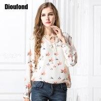 Dioufond Women Blouses Chiffon Long Sleeve Chemise Femme Ladies Tops Floral Print Shirt Women Blouse 2017 New Fashion Plus Size