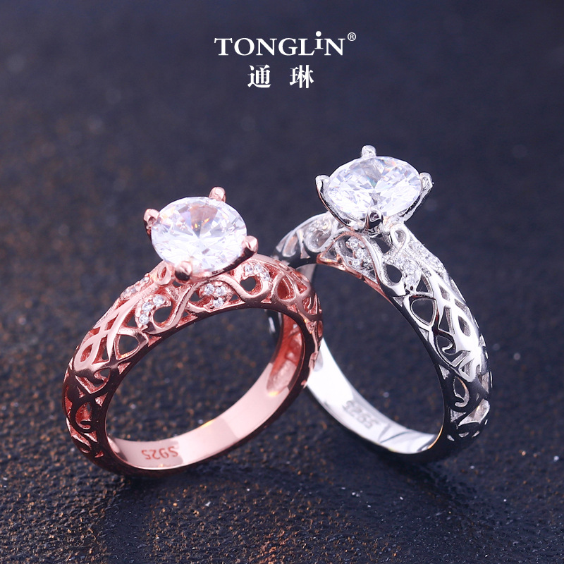Ingenious Big Stone Purple Cubic Zirconia Unique Design Luxury Women Jewelry 2018 Fashion Engagement Wedding Ring Fine Craftsmanship Engagement Rings Jewelry & Accessories