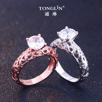 925 Silver Zirconia Engagement Ring for Women Unique Wedding Ring Rose Gold Art Deco Baguette Finger Ring Boho Jewelry