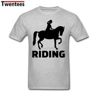 Short Sleeve Crewneck Cotton Horse Riding Shirt For Men Funny Plus Size Party T Shirts