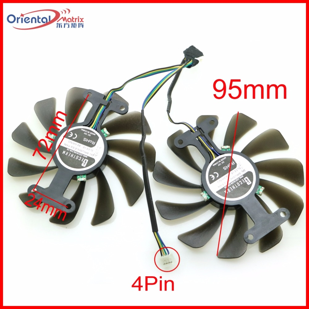 Free Shipping GF10012H12SPA 12V 0.5A 95mm 4Pin For ZOTAC GeForce GTX 1080 AMP Graphics Card Cooling Fan original for zotac mgt8012yb w20 turbo graphics card cooling fan diameter 7 3cm length 7cm 4wire