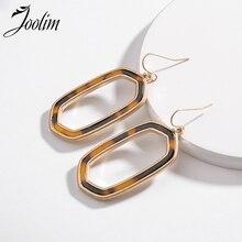 Joolim Jewelry Wholesale/Trendy Leopard Resin Drop Earring Hollowout Dangle