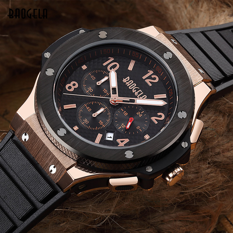 Baogela Chronograph 24 Hours Function Sport Quartz Watch for Man Mens Silicone Gold Luxury Military Wristwatch