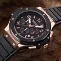 Baogela Función Cronógrafo 24 Horas Del Cuarzo Del Deporte Del Reloj para Hombre Mens del Silicón del Oro de Lujo Reloj Militar relogio masculino