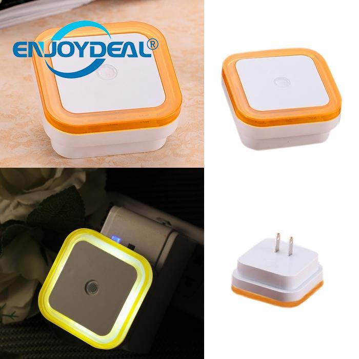 LED Night Light Lamp Nightlight Mini Square Shape Colorful Smart Light Sensor Energy Saving Lamps Yellow Wall Lamp Baby Gift