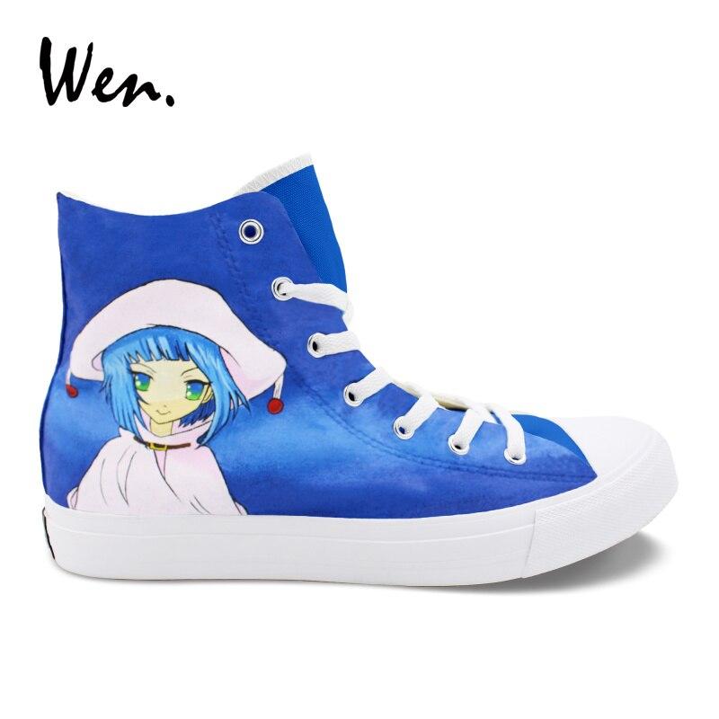 Wen Design Hand Painted Shoes Shakugan No Shana Anime Sneakers Girl Boy Canvas Board Shoes High Top Casual Plimsolls