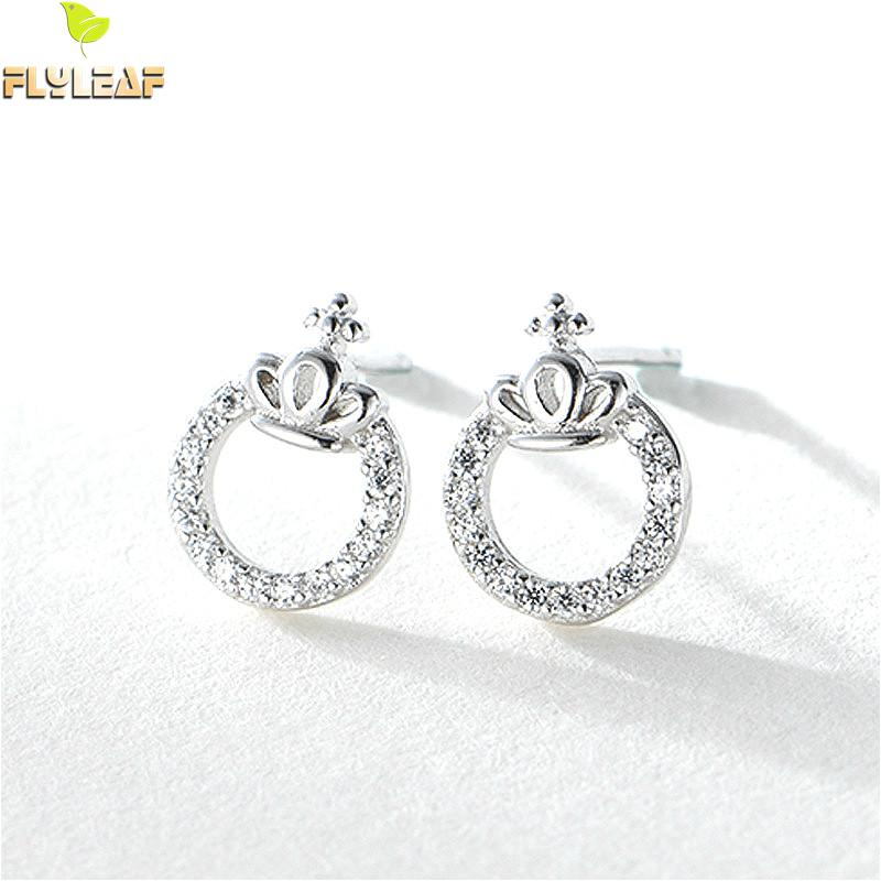 Flyleaf 100% 925 Sterling Silver Round Cubic Zirconia Crown Stud Earrings For Women Fashion Party Jewelry