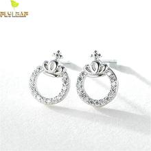 Flyleaf 100% 925 Sterling Silver Round Cubic Zirconia Crown Stud Earrings For Women Fashion Party Jewelry недорого
