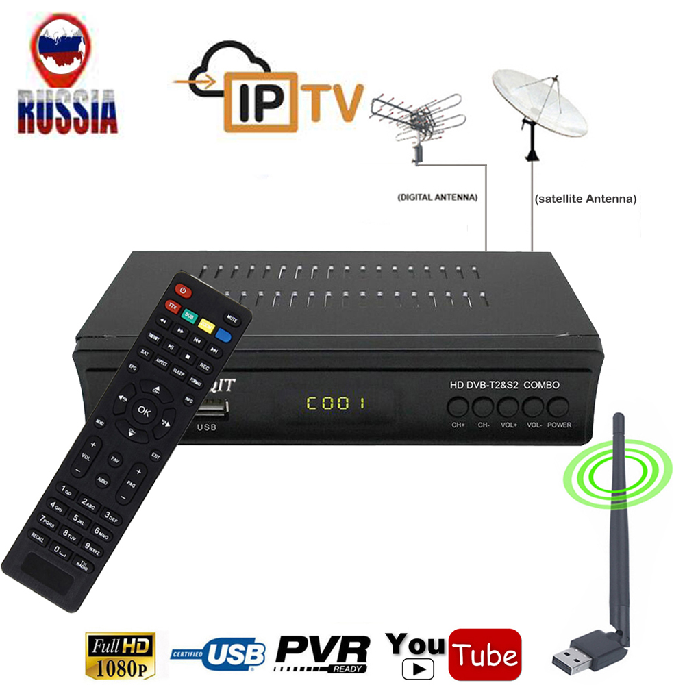 FTA DVB-T2 Terrestrial Receiver Combo AC3 Decoder With Digital DVB-S2 Satellite Wifi Internet Iptv IKS Cccam Youtube Power Biss