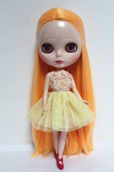 Blyth doll Nude doll 30cm ordinary body pumpkin orange straight hair doll dolls for makeup can be replaced body