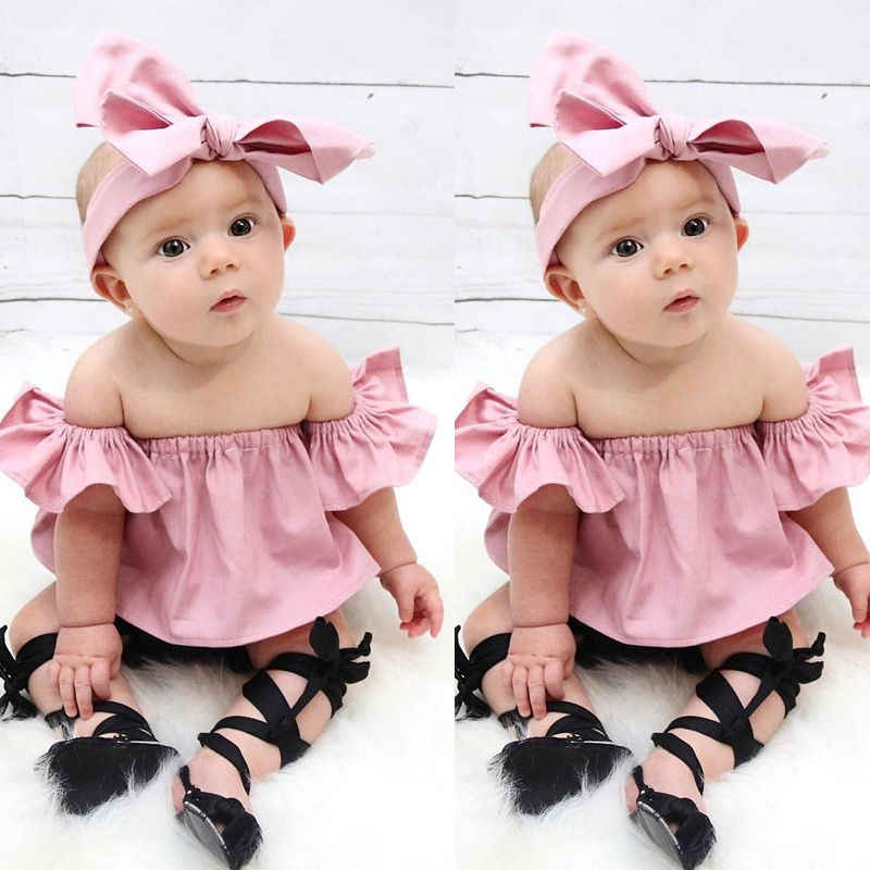 6930c24a583ad ... Pudcoco 3PCS Summer Cute Baby Girls Fashion Outfit Newborn Baby Girl  Clothes Set Off Shoulder Top ...
