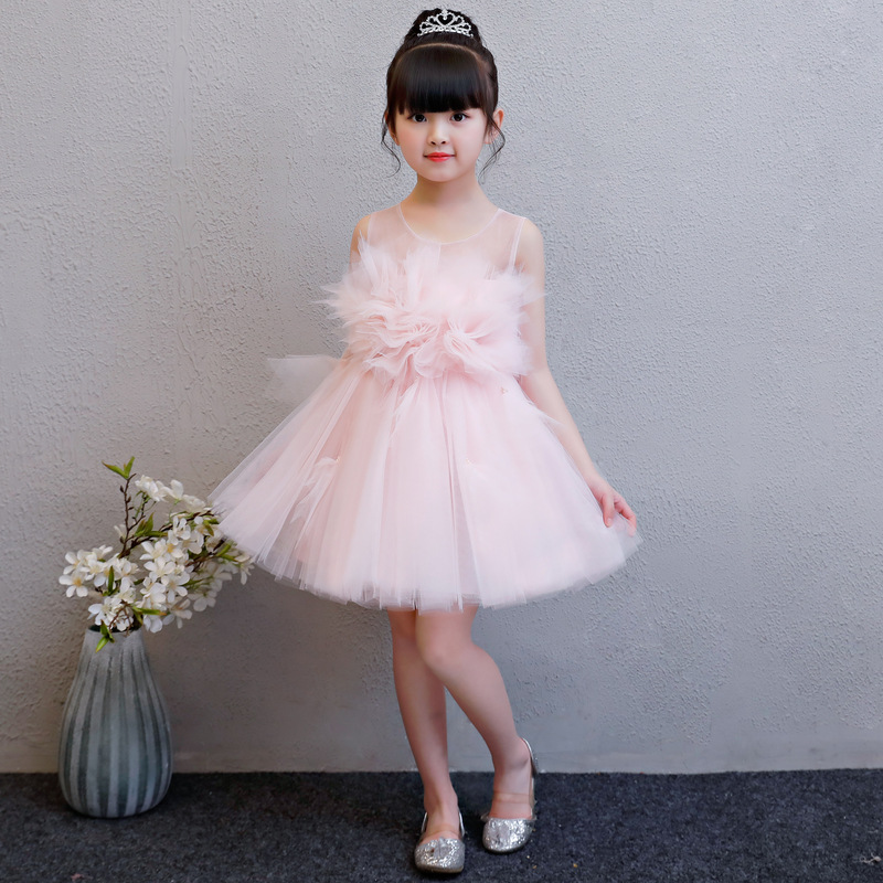 Pink New Flower Girl Dresses Birthday Princess Dresses Ball Gown Kids Pageant Gowns Wedding Girls Party Dress Summer Dress new dubai girl s pageant dresses crystals blue lace ball gown glamorous kids pageant dress flower girls gowns for wedding