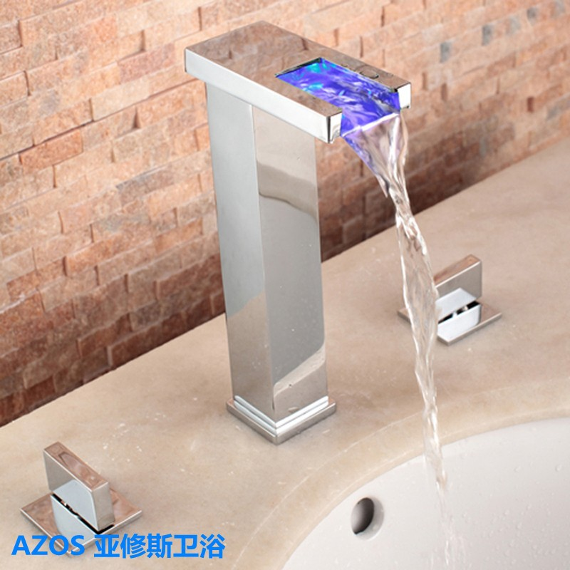 3 Color LED Chrome Waterfall 3 Holes Sink Tall Faucets Mixer Tap ...