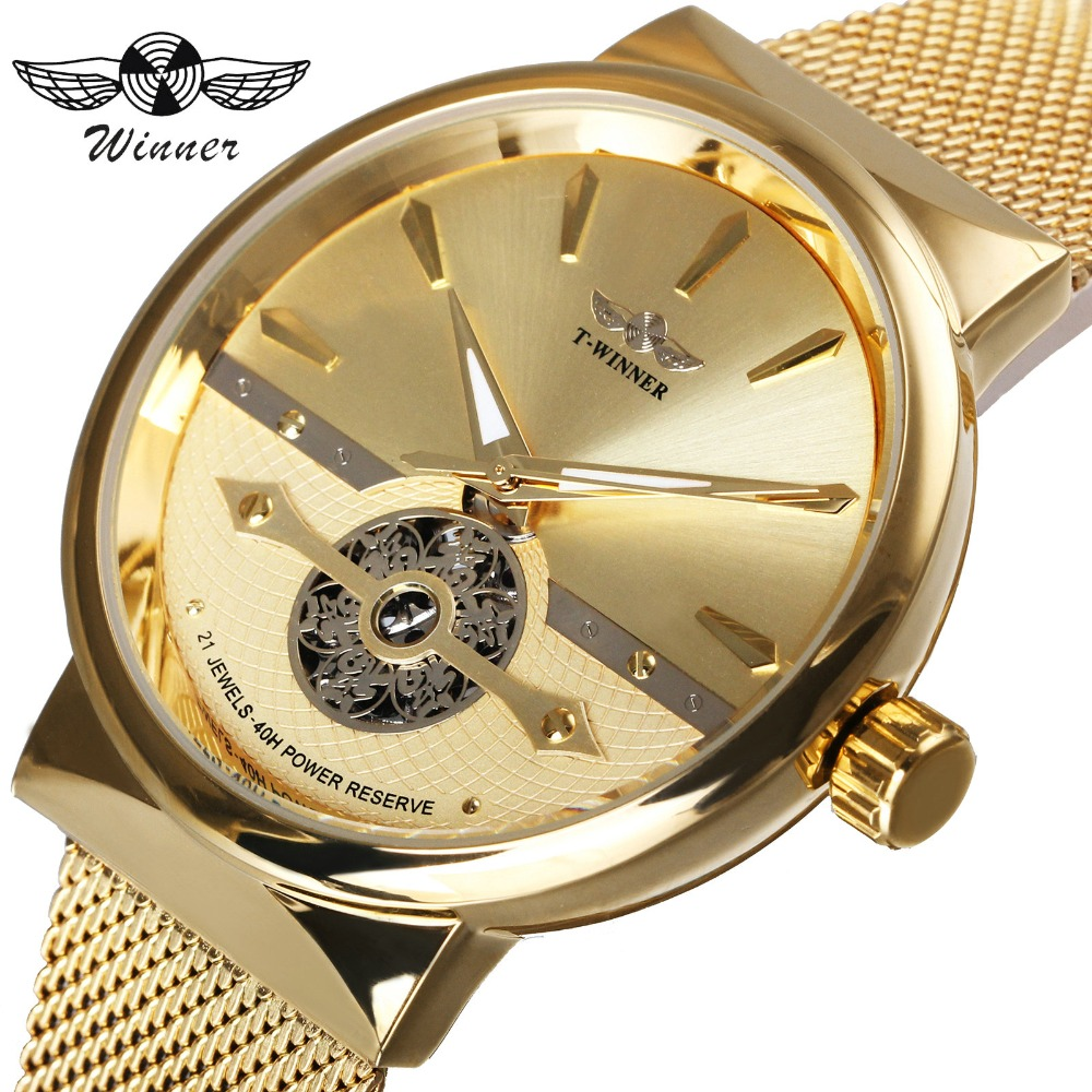 WINNER Top Brand Luxury Men Auto Mechanical Watch 3D Skeleton Dial 20 Jewels 40H Power Reserve Golden Mesh Strap Wristwatch winner mechanical watch luxury brand