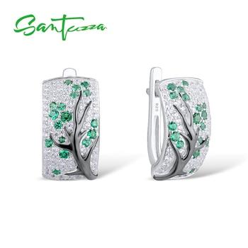 Pendientes de plata SANTUZZA para mujer, Plata de Ley 925 pura, cereza verde, Zirconia cúbica brillante, joyería de moda brincos