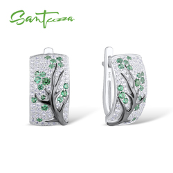 SANTUZZA Silver Earrings For Women Pure 925 Sterling Silver Green Cherry Sparkling Cubic Zirconia brincos Trendy Fashion Jewelry