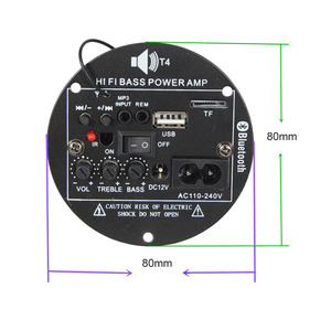 Image 3 - AIYIMA 30W Bluetooth Bảng Mạch Khuếch Đại 12V 220V Mono Loa Siêu Trầm Khuếch Đại Hỗ Trợ TF USB FM 5  10inch Bass DIY