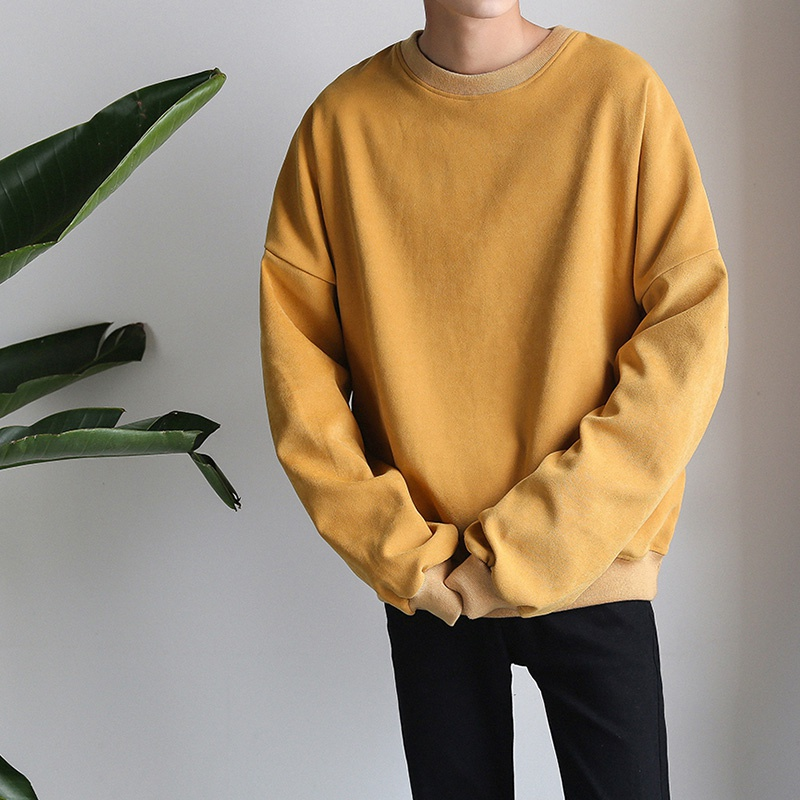 Men's Sweatshirt O-Neck Solid Cotton Long Sleeve Sweatshirts 2019 Winter Autumn Hip Hop Streetwear Casual Oversize Pullover Top