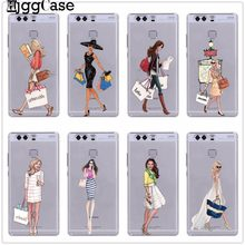 Sexy model shopping girl Cover Phone Case Coque For Huawei P10 P20 Pro P9 P8 Lite Mate 10 Pro Y5 Y6 II Y7 2017 Honor 6X 7X 9Lite(China)