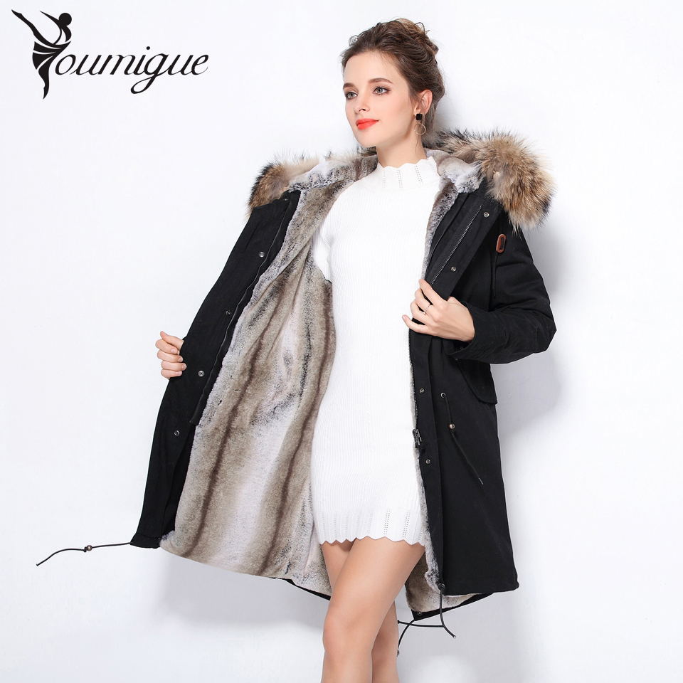 YOUMIGUE New Real Large Raccoon Fur Winter Coat Women Jacket Coats Collar Thicken Warm Padded Cotton