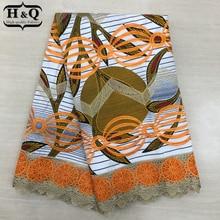 Nieuwe Ontwerp Batik Stof Met Kant Hoge Kwaliteit Geborduurde Afrikaanse Wax Kant Stof 100% Katoen Nigeriaanse Guipure Wax Kant 6 yards