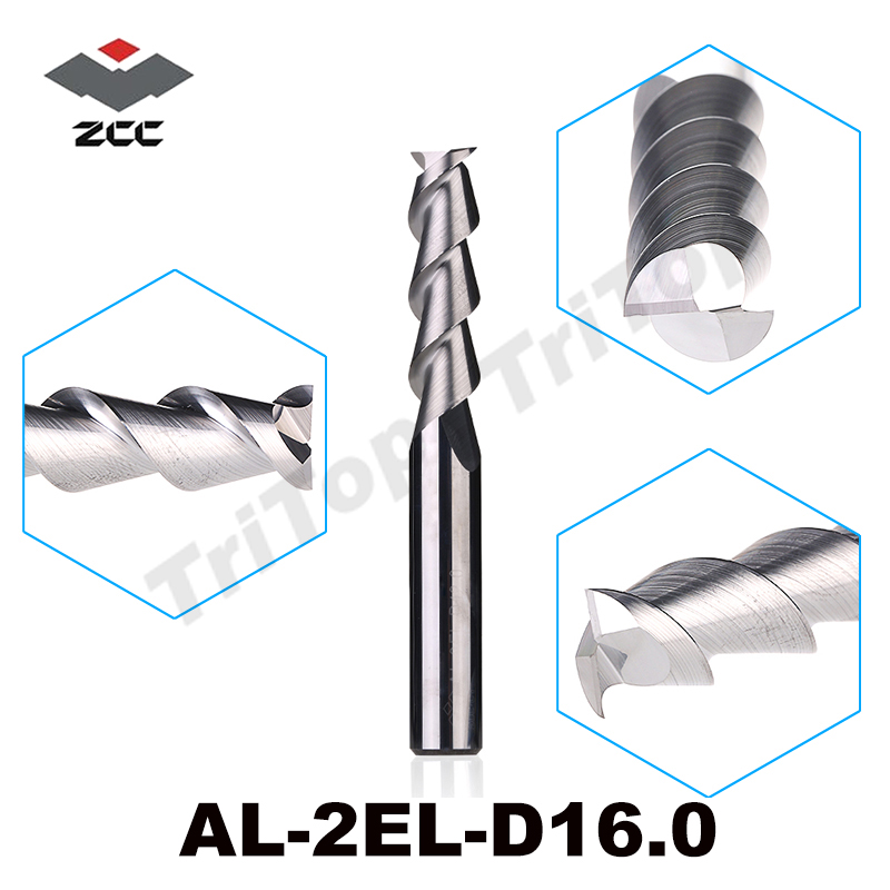 AL-2EL-D16.0 ZCC.CT Cemented Carbide 2-flute flattened cnc end mills long cutting edge with straight shank milling tools zcc cthm hmx 4efp d8 0 solid carbide 4 flute flattened end mills with straight shank long neck and short cutting edge