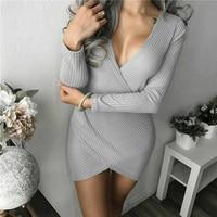 2018 Sexy Deep V Neck Bandage Dress Newest Fashion Grey Beige Slim Long Sleeve Bodycon Celebrity