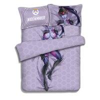 Japanese Anime Overwatch Widowmaker Bedding Sheet Bedding Sets Bedcover Pillow Case 4PCS