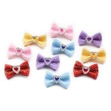 Handma горный хрусталь в форме сердца украшают галстук для собаки волосы маленькие банты с цветком для собак 6029021 аксессуары для ухода за домашними животными
