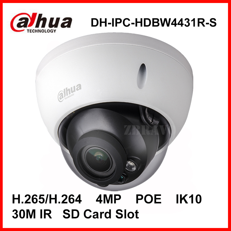 Dahua 4MP Dome IP Camera DH-IPC-HDBW4431R-S H.265 H.264 4Megapixel IK10 IP67 Water proof Network IP Camera with POE SD Slot CCTV dahua 4mp wdr ipc hfw4431e s h 265 fixed lens3 6mm ir40m network waterproof ip67 smart detection bullet ip camera hfw4431e s