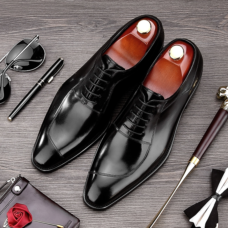 New Arrival Luxury Man Formal Dress Shoes Genuine Leather Handmade Wedding Oxfords Round Toe Men's Party Bridal Prom Flats NE72 new arrival british man wedding dress shoes fashion genuine leather male oxfords round toe formal luxury brand men s flats rf40