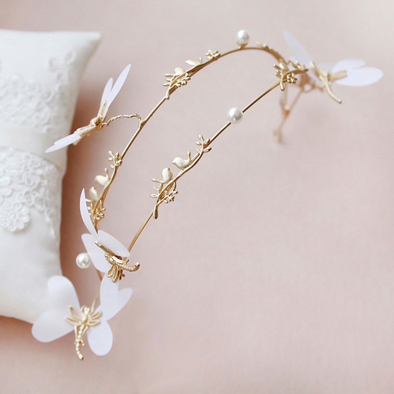 Classic Simulated Pearl Butterfly Hair Ornaments Tiaras Gold Bird Princess Children Hairpins Girls Hair Accessories Hair Clip 10pcs card fashion bird design baby hair clip cute kids hairpins children casual hairbands accessories para el pelo cabelo