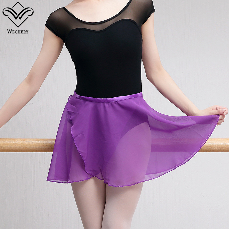 Wechery Open Ballet Skirt Women Lady Chiffon Mini Skirts for Leotards Gymnastics Wear Pink Blue Purple Red White Black