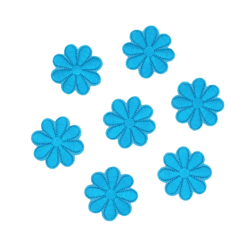10 pcs sky blue 4*4cm Sun Rose Flower Embroidered Fabric Iron On Sew On Sticker Patches Clothing Appliques DIY Apparel Accessor