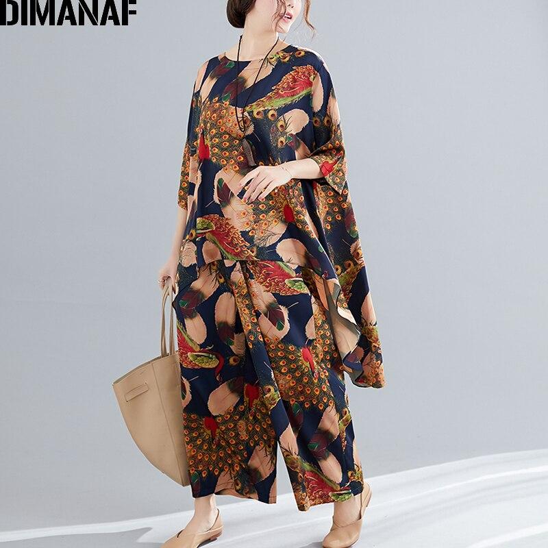 DIMANAF Plus Size Women Sets Summer Loose Big Size Print Suit Female Clothing Lady Tops Shirts