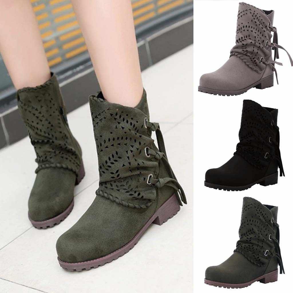 Sagace Thương Hiệu Giày Bốt Thời Trang Nữ Rỗng Băng Da Lộn Nữ Gót Thấp Giày Da Lộn Xem Trước Phong Cách 2020