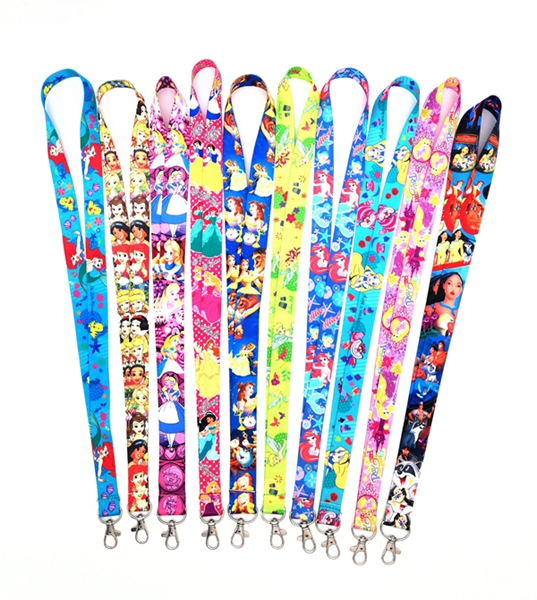 New 1 Pcs  Princess Alice Mermaid Princess Neck Strap Lanyard Mobile Phone Strap ID Badge Holder Rope Key Chain Key Rings C2