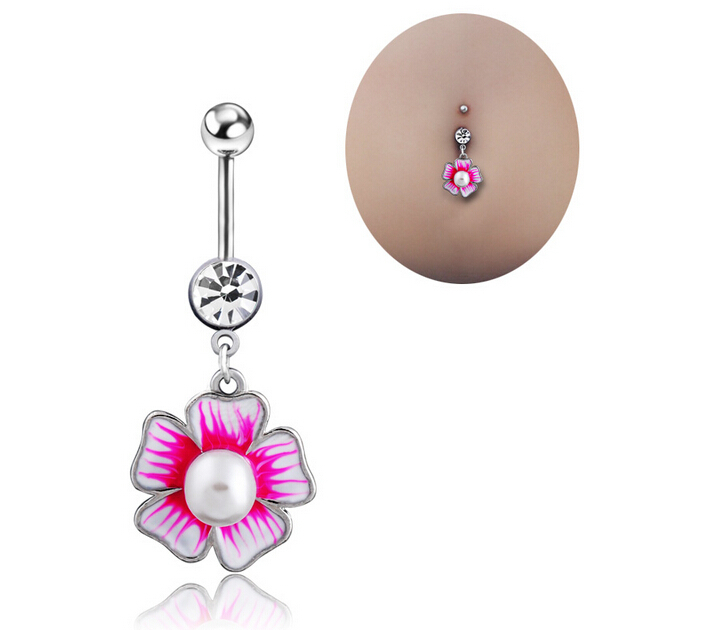 Us 5 88 Fake Septum Fake Piercing Barbell Flowers Body Jewelry Piercing Navel Belly Button Rings Percing Ring Bijoux Pirsing Nombril In Body Jewelry