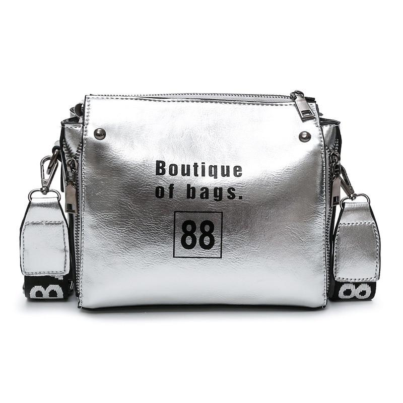 BERAGHINI Rivet <font><b>Silver</b></font> Ladies PU Leather Flap Bags with Wide Straps Small Designer Women <font><b>Handbags</b></font> Female Shoulder Messenger Bags